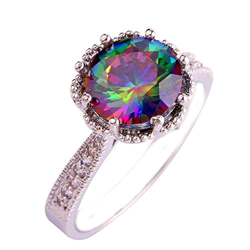 Empsoul 925 Sterling Silver Natural Chic Filled 3.5ct Rainbow & White Topaz (3.5 Ct Diamond)