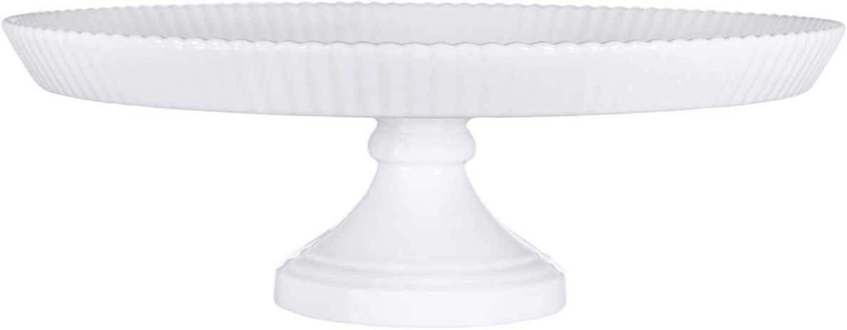 Elegant Decorative 12 Inch Pure White Ceramic Scallop Edge Footed Plate Round Dessert Pedestal Display Cupcake Cake Stand For Cakes Tarts Candies Cookies Or Muffins - By Home Essentials & Beyond