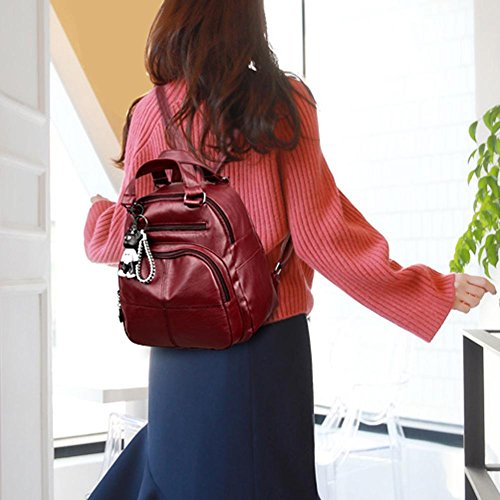 Domybest Backpacks PU Teenage Wine School Girl Rucksack Bags Leather Handbag Red Women Travel Shoulder fEExr