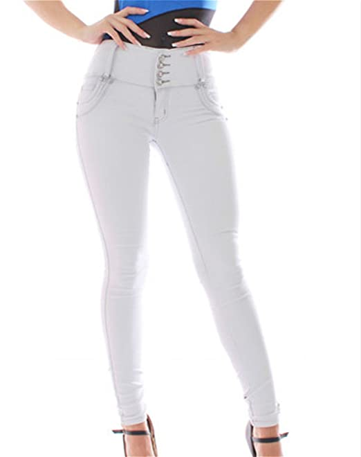 FARINA®1637 Pantalon Vaquero de Mujer, Push up/Levanta Cola, Pantalones Elasticos Colombian,Color Gris Claro,Talla 34-48/XS-3XL