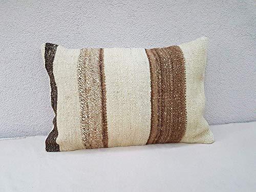 Organic Pillow Cover Mud Cloth Kilim Cushion, Antique Kilim Pillow Cases, 19 Century Woven Cushion Case, Turkish Lumbar Kilim Pillow, Farmhouse Sofa Pillows 16'' x 24'' (40 x 60 Cm)