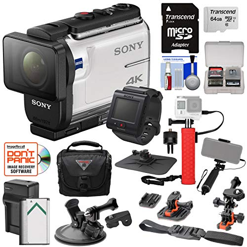 Sony Action Cam FDR-X3000R Wi-Fi GPS 4K HD Video Camera Camcorder & Remote + Action Mounts + 64GB Card + Battery/Charger + Case + Power Grip + Selfie Stick Kit