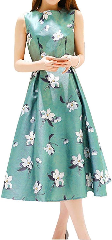 SALUCIA Sommerkleid Damen Skaterkleid Ärmellos Rundhals Strandkleid  Blumenkleid Elegant Tailliert Faltenrock Partykleid Wadenlang Abendkleid  Cocktail