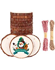 """SOLEDI Wood Slices 3.1-3.5"""" Natural Wood Ornaments with Hole Unfinished Wood Slices for Christmas Decorations Hanging DIY Crafts with Jute Twine and Red Cotton for Wedding Decorations or Wood Burning"""
