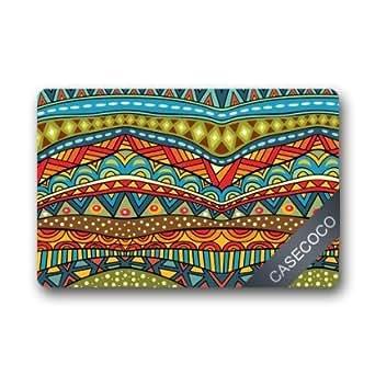 Lovelife patrón Tribal azteca máquina de tela lavable y antideslizante Felpudo de goma interior/al aire libre Felpudo Alfombrilla de suelo, 30(L) X 18(W) pulgadas