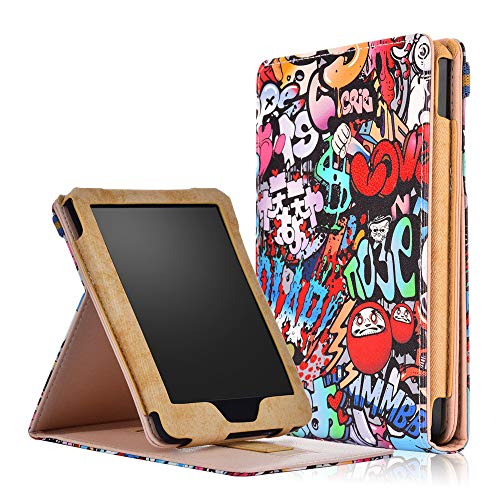 Livoty Auto Wake Sleep Flip Leather Printed Stand Case Cover for Kobo Clara HD 6'' 2018 eReader (A)