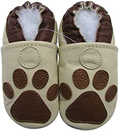 Carozoo baby boy soft sole leather infant toddler kids shoes Paw Cream 7-8y