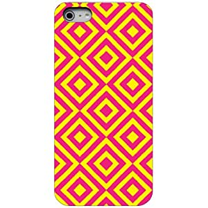 CUSTOM Black Hard Plastic Snap-On Case Cover for Apple iPhone 4 / 4S - Hot Pink Yellow Diamond Geometric