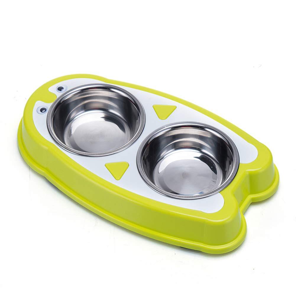 Green Pet Feeding Bowl Cat Water Bowl Dual Purpose pet Bowl Removable Penguin Stainless Steel Dog Bowl Dual Purpose cat and Dog Bowls