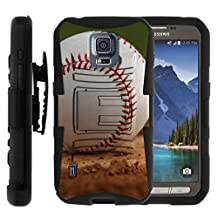 Samsung Galaxy S5 Active Case   G870 [Hyper Shock] Resistant Hybrid Case Holster Clip Hard Impact Combo Kickstand Silicone Sports and Games Design by TurtleArmor - Baseball Dirt