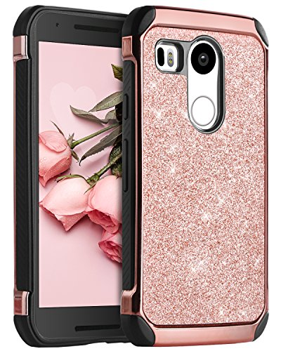 Nexus 5X Case, LG Nexus 5X Case, BENTOBEN Shockproof 2 in 1 Luxury Glitter Bling Hybrid Slim Hard Covers Sparkly Shiny Faux Leather Chrome Protective Case for LG Google Nexus 5X (2015), Rose Gold (Best Lg Nexus 5x Case)