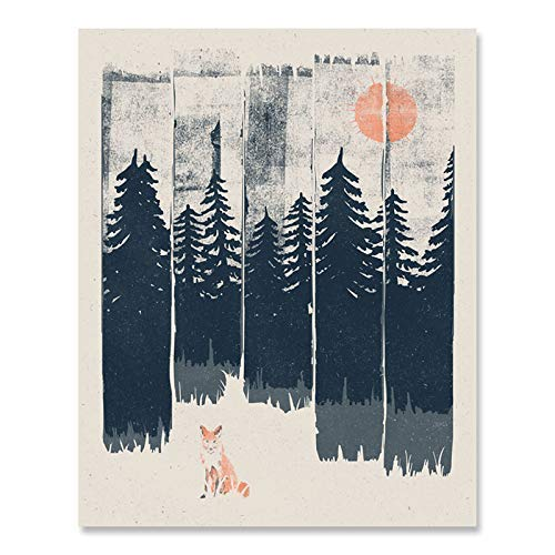 (Wilderness Fox Art Print - Wildlife Nature Lover Forest Trees Mountains Landscape Wall Art Great Outdoors Inspiration Peaceful Serene Calming Home Decor 8 x 10 Inch Art Print)