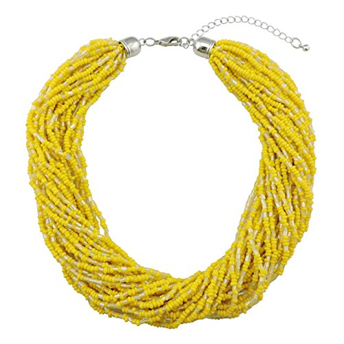 Bocar Multiple Strand Handmade Beaded 16 Statement Collar Necklace for Women with Gift Box