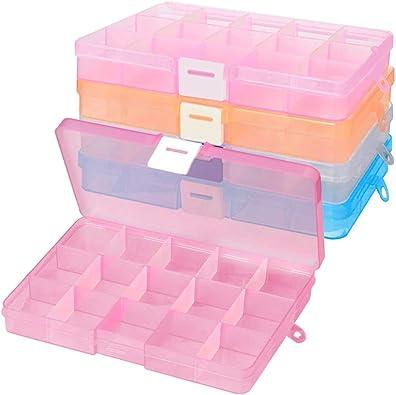 XCOZU Cajas de Almacenamiento de Cuentas, 4 Unidades de Plástico Transparente con Separadores Ajustables, Caja Organizadora de Pendientes con 15 Compartimentos para Joyas, Anillos y Pendientes: Amazon.es: Joyería