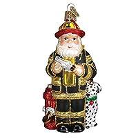 Old World Christmas Fireman Santa Glass Blown Ornament