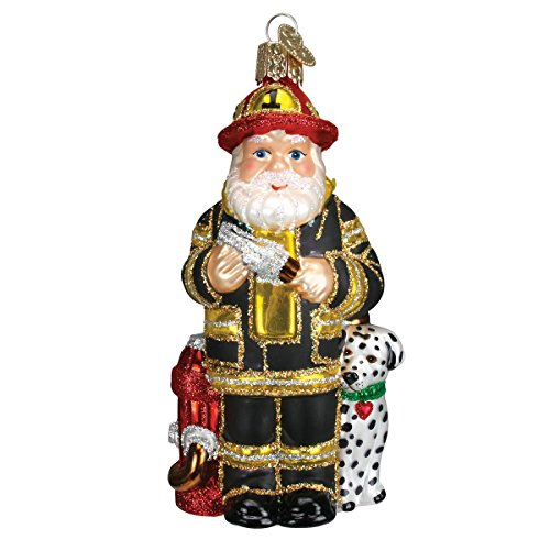 (Old World Christmas Glass Blown Ornament with S-Hook and Gift Box, Santa Collection (Fireman Santa [Black]))