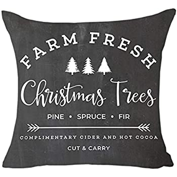 MFGNEH Farm Fresh Christmas Trees Cotton Linen Throw Pillow Covers Christmas Decor Cushion Cover 18 x 18 Inch for Sofa,Christmas Pillow Covers