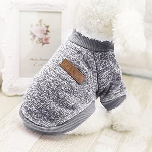 Idepet Pet Dog Classic Knitwear Sweater Fleece Coat Soft Thickening Warm Pup Dogs Shirt Winter Pet Dog Cat Clothes Puppy Customes Clothing for Small Dogs (Read The Size Chart First) 51
