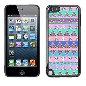 Caucho caso de Shell duro de la cubierta de accesorios de protección BY RAYDREAMMM - Apple iPod Touch 5 - Native American Pattern Pink Teal