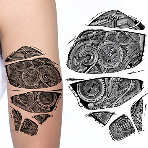 b2d275a39 Weekend Tattoos ROBOT ADULT TEMPORARY TATTOO ROBOTIC GEARS STEAMPUNK ARM  TEMP HALLOWEEN COSPLAY TATTOO FOR MEN AND WOMEN TRANSFER TATTOO ON PAPER:  ...