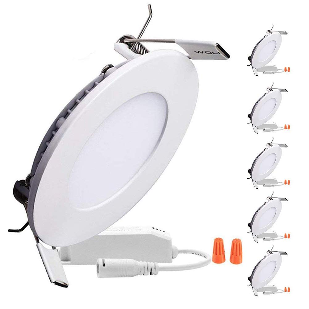 B-right Pack of 5 Units 12W 6-inch Dimmable Round LED Panel Light 960lm Ultra-Thin 5000K Cool White LED Recessed Ceiling Lights for Home Office Commercial Lighting