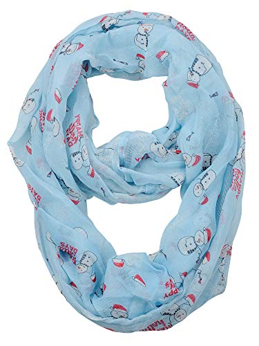 D&Y Christmas Theme Sheer Loop Infinity Scarf, Happy Holidays (Gifts Snowmen)