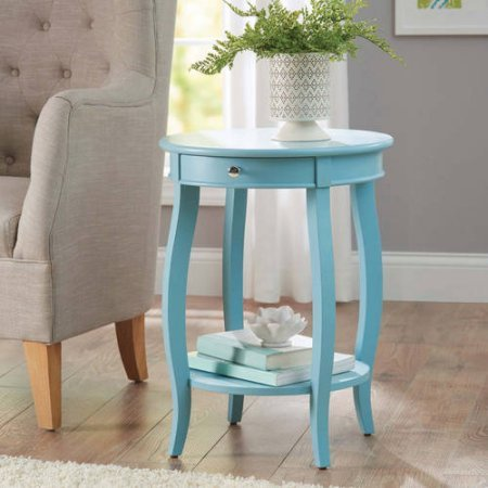 Better Homes and Gardens Round Accent Table with Drawer, Multiple Colors (Teal) (Teal)