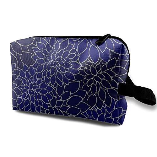 Lofout Navy Blue Dahlia Flower Petals Cosmetic Bags Small Makeup Clutch Pouch Cosmetic and Toiletries Organizer Bag Women Makeup Travel Storage 10 X 6.3 X 5 Inch