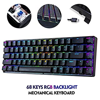 Portable RGB Gaming Office MK14 Mechanical Keyboard USB 68 Non-Detachable Keys Backlit Anti-ghosting Keyboard for PC Laptop(Blue Red Brown Switch) (Blue Switch)