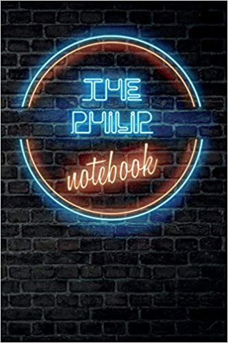 the philip notebook vintage blank ruled personalized custom neon sign name dotted notebook journal for boys men wall background funny desk supplies birthday christmas gift for men publishing vintageneon amazon com