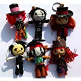 Super 6 Johnny Depp Set String Doll Keychain - Edward Scissorhands, Jack Sparrow, Mad Hatter, Willy Wonka, Sweeney Todd, Tonto