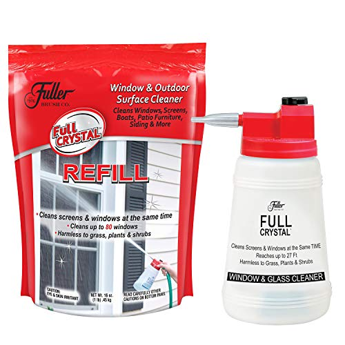 Full Crystal Bottle Kit - Bottle, Lid with Hose Attachment, and 1lb Bag of Crystal Powder: Exterior Window, Glass, and Screen Cleaner (Cleans up to 80 Windows) ()