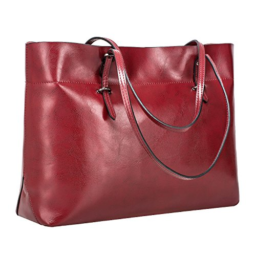 (S-ZONE Women's Vintage Genuine Leather Tote Shoulder Bag Handbag Upgraded Version (Wine))