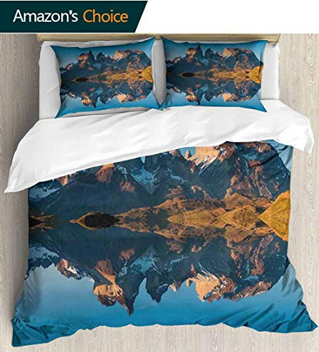 (Nature 3 Piece Quilt Coverlet Bedspread,Majestic Rocky Mountains with Reflections on the Lake Creek Idyllic Landscape All Season Lightweight Colorblock Kids Bedding Set 79