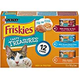Purina Friskies Tasty TreasuresTM with Cheese Cat Food Variety -156g Cans (Pack of 12)