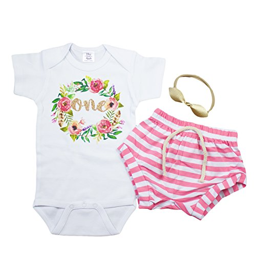 Olive Loves Apple Girls 1st Birthday Outfit Pink White Stripe Shorts Boho Wreath One and Leather Knotted Bow