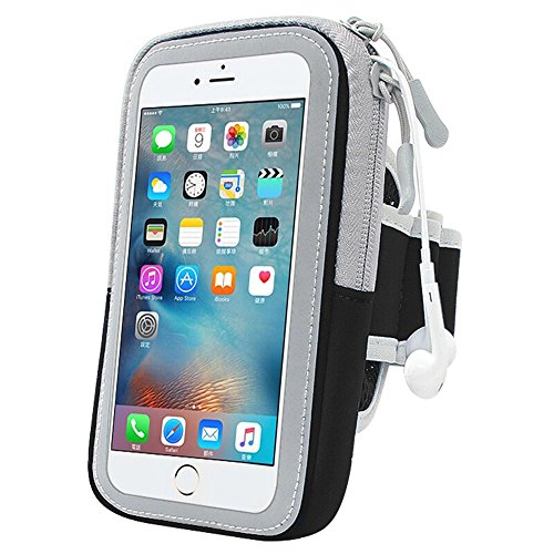Sport Carrier - Breathable Sports Armband Daystyle Water-resistant Bag with 2 Zippers Touchscreen Pouches for iphone 7plus 6 plus 6s plus Samsung Note Edge S7 Jogging Running Cycling (Black)