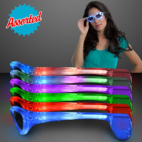 Light Up Flashing LED Sunglasses in Assorted Colors (Set of 12)