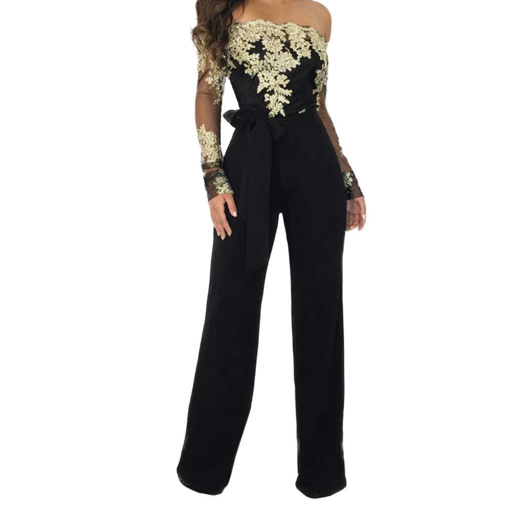 Lmx+3f Women Casual Lace Up Jumpsuit Ladies Off Shoulder Solid Floral lace Playsuit Wide Leg Romper (L, Black)
