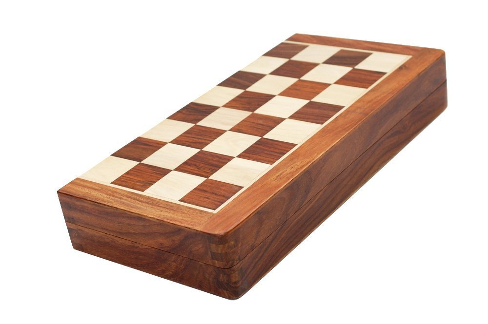 Best Chess Set Sale - BKRAFT4U 10 x 10'' Rosewood Travel Chess Game Board - Premium Handmade Wooden Foldable Magnetic Chess Game Board with Storage Slots, 10 inch. Gifts from India. by BKRAFT4U (Image #4)