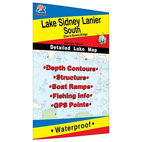 Lake Sidney Lanier-South Fishing Map (Dam to Browns Bridge) (Map Fishing Waterproof)
