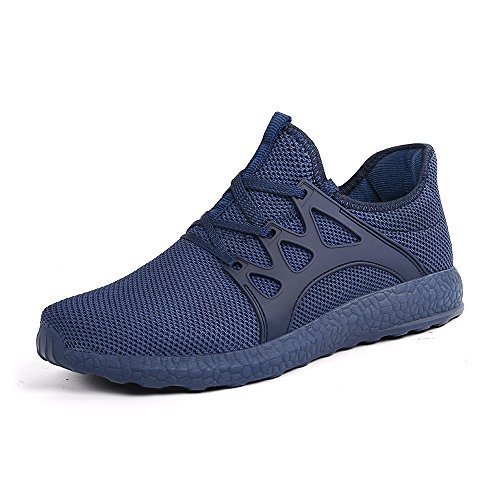 Porclay Men's Ultra Lightweight Shoes Lace up Knit Mesh Breathable Sports Shoes Athletic Walking Sneakers Blue Size 9.5