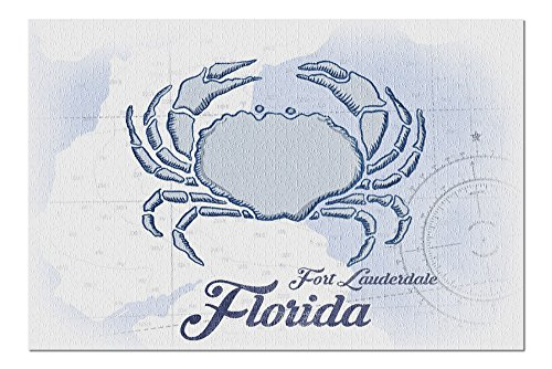 Fort Lauderdale, Florida - Crab - Blue - Coastal Icon (20x30 Premium 1000 Piece Jigsaw Puzzle, Made in USA!)