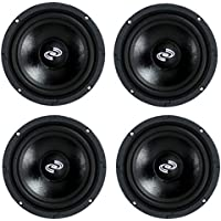 4) Pyle Pro 8 Inch 360 Watt 8-Ohm Black Driver Mid Range Audio Speakers | PDMR8