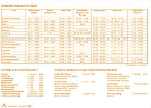 RNK DIN A5 quer 10 Verlag Urlaubs- und Fehltagekarte 2020