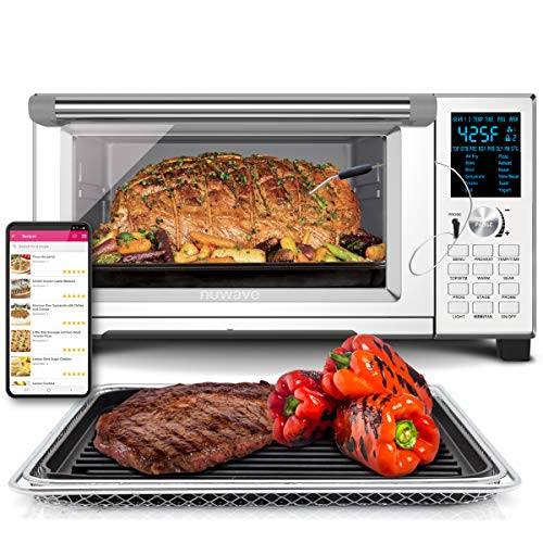 NuWave Bravo XL Convection Air Fryer Oven Grill 30-Quart 10-in-1; Temperature Probe; Non-Stick Baking Pan; 60°F-500°F;10…