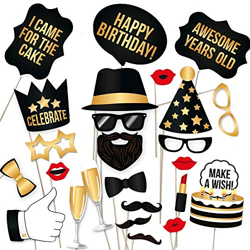 Happy Birthday Props DIY Kit for Black and Gold Birthday Party Photo Booth Props Stand – Suitable for Him Her Birthday Celebration Photo Booth 34 Count