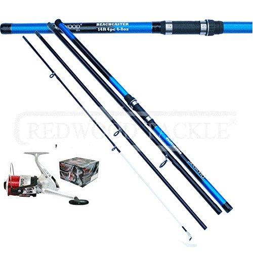 Oakwood 12 FT 4PC BEACHCASTER FISHING ROD & SILK 70 BEACH/SEA REEL + LINE COMBO