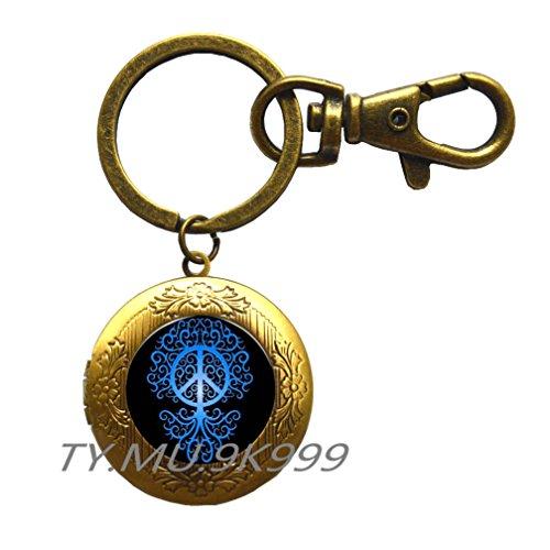 Blue peace symbol Locket Key Ring pattern jewelry Locket Keychains & Locket Key Rings plated chain Locket Keychain choker jewelry accessories gift.Y055 (2)