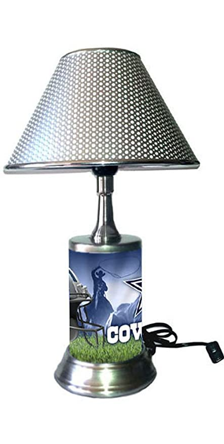 Rico Table Lamp With Chrome Colored Shade Dallas Cowboys Plate Rolled In On The Lamp Base